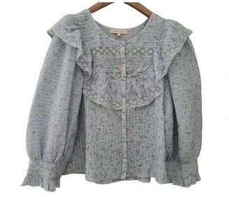 LoveShackFancy Blue Cotton Top for Women