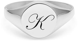 Myia Bonner Initial K Silver Edwardian Signet Ring