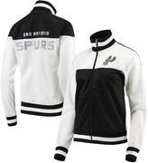 G Iii Women's G-III 4Her by Carl Banks White/Black San Antonio Spurs Tip Off Rhinestone Tricot Full-Zip Track Jacket