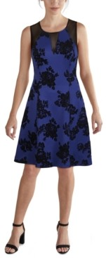 GUESS Illusion-Mesh Floral Fit & Flare Dress