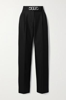 Alexander Wang Chain-embellished Pleated Wool-blend Twill Straight-leg Pants - Black