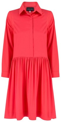 Monica Nera Anne Coral Cotton Shirt Dress