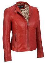 Black Rivet Womens Leather Zip Scuba W/ Quilted Shoulders