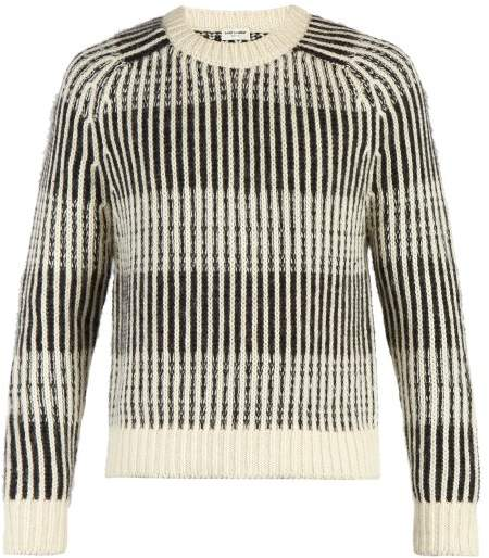 Saint Laurent Striped Crew Neck Jumper - Mens - Black White