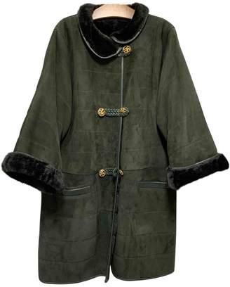 Nina Ricci Green Leather Coat for Women Vintage