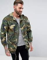 Pull&Bear Lightweight Parka Jacket In Camo