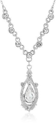 1928 Jewelry Silver-Tone Crystal Suspended Teardrop Adjustable Y-Shaped Necklace 16""