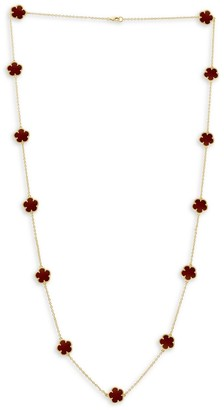 Jan Kou Flower 14K Goldplated & Coral Agate Station Necklace