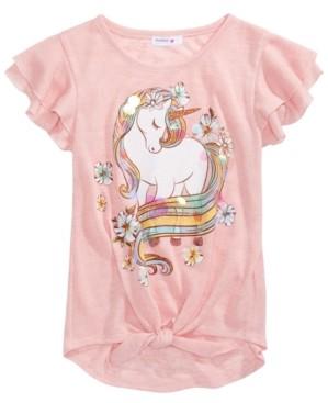 Beautees Big Girls Glitter Unicorn Flutter-Sleeve Top