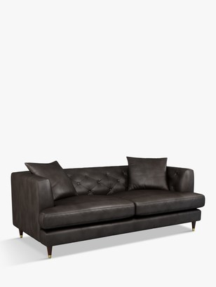 John Lewis & Partners Chester Large 3 Seater Leather Sofa, Dark Leg