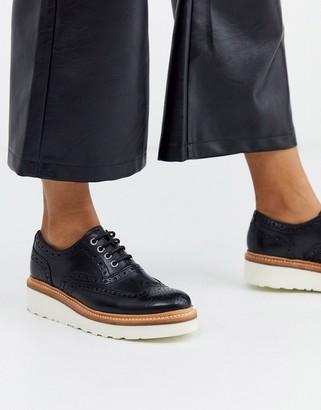 Grenson Emily flatform welt brogue in black leather