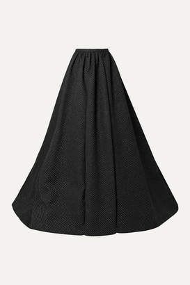 Rosie Assoulin Pleated Glittered Woven Maxi Skirt - Black
