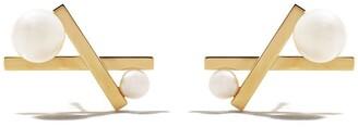 Tasaki 18kt yellow gold Balance cross Akoya pearl studs