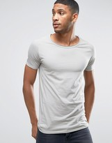 Liquor & Poker Muscle Fit T-Shirt Raw Hem Scoop Neck