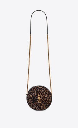 Saint Laurent Vinyle Round Camera Bag In Leopard-print Suede And Smooth Leather Black Onesize