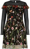 River Island Womens Black embroidered mesh dress