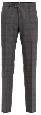 Slim-fit pants in checkered virgin wool