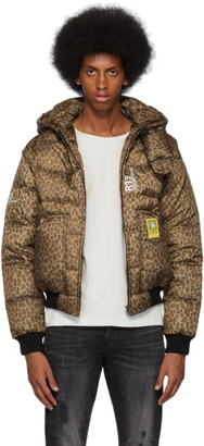 R 13 Tan and Black Leopard Down Jacket