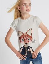 Marks and Spencer Animal Print Short Sleeve Top (3-14 Years)