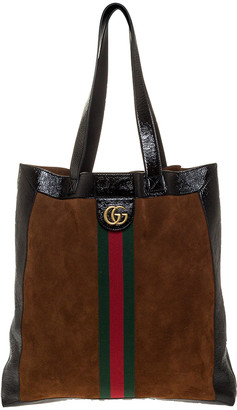 Gucci Brown/Black Suede and Leather Large Ophidia Tote