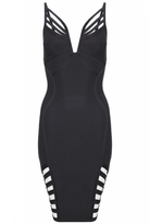 Quiz Black Strappy Plunge Neck Bandage Bodycon Dress