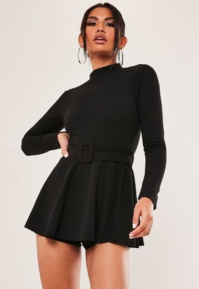 Missguided Petite Black High Neck Long Sleeve Skort Romper