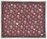 Alexander McQueen Black and Pink Dagger Hearts Skull Scarf