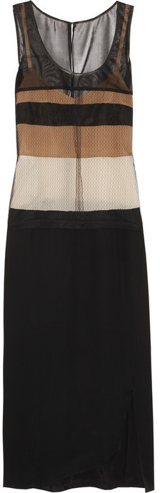 Reed Krakoff Layered stretch-mesh, matte-satin and lace dress
