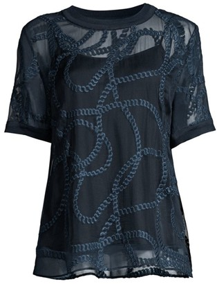 Elie Tahari Kelsey Embroidered Silk Top