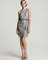 Aidan Mattox One-Shoulder Sequin Dress with Sash