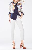 BCBGMAXAZRIA Motley Tropical Print-Blocked Tweed Jacket