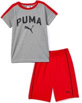 Puma Boys' Active Shorts Light - Light Heather Gray Logo Tee & Red Mesh Shorts - Boys