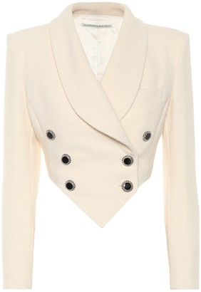 Alessandra Rich Cropped wool-blend crApe blazer