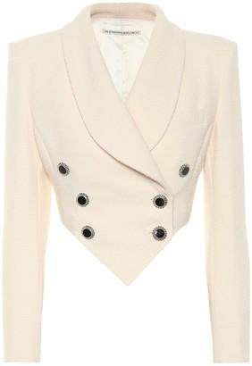 Alessandra Rich Cropped wool-blend crApe blazer