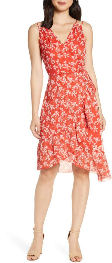 Adelyn Rae Tessie Floral Print Asymmetrical Chiffon Dress