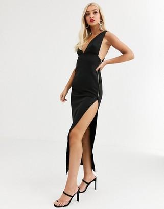 Asos Design DESIGN deep plunge maxi dress with zip detail