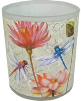 PPD Zanzibar Dragonfly Floral Frosted Glass Tea Light Holder