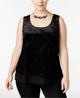 INC International Concepts Plus Size Chiffon-Hem Burnout-Velvet Tank Top, Only at Macy's
