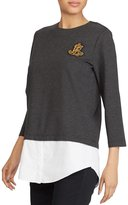 Lauren Ralph Lauren Petite Layered Bullion-Crest Top