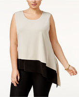 Calvin Klein Plus Size Asymmetrical Colorblocked Shell