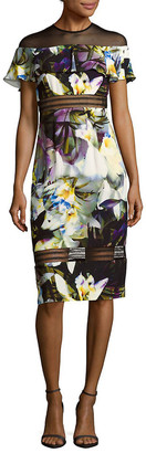 Nicole Miller Sheer Floral Knee-Length Dress