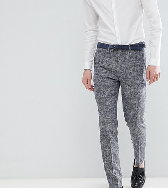 Gianni Feraud TALL Skinny Fit Nepp Cropped Suit Pants-Navy