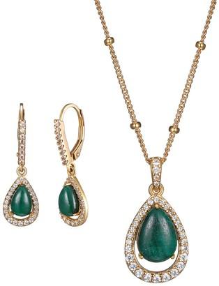 18k Gold Over Silver Jade & Lab-Created White Sapphire Teardrop Pendant & Earring Set