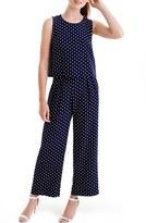 J.Crew Women's Polka Dot Overlay Silk Jumpsuit