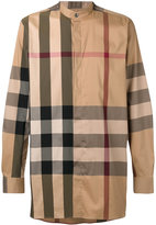 Burberry House check collarless shirt - men - Cotton/Polyamide/Spandex/Elastane - XS