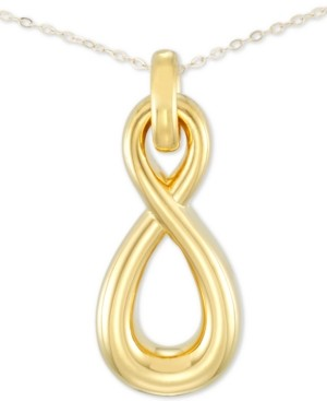 "Signature Gold Diamond Accent Infinity 18"" Pendant Necklace in 14k Gold Over Resin, Created for Macy's"