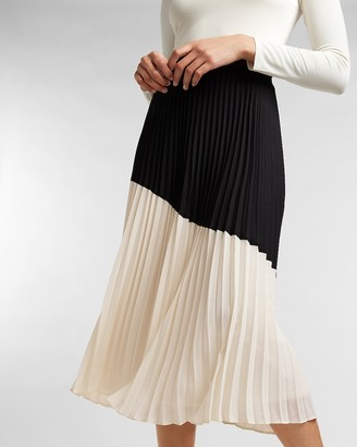 Express High Waisted Pleated Color Block Midi Skirt