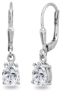 Icz Stonez 7x5mm Pear-Cut Cubic Zirconia Teardrop Drop Dangle Sterling Silver Leverback Earrings