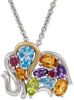 Macy's Multi-Gemstone Elephant Pendant Necklace (3-1/4 ct. t.w.) in Sterling Silver and 14k Gold