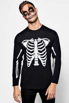 boohoo Long Sleeve Halloween Skeleton T-Shirt